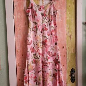 100% linen floral midi dress